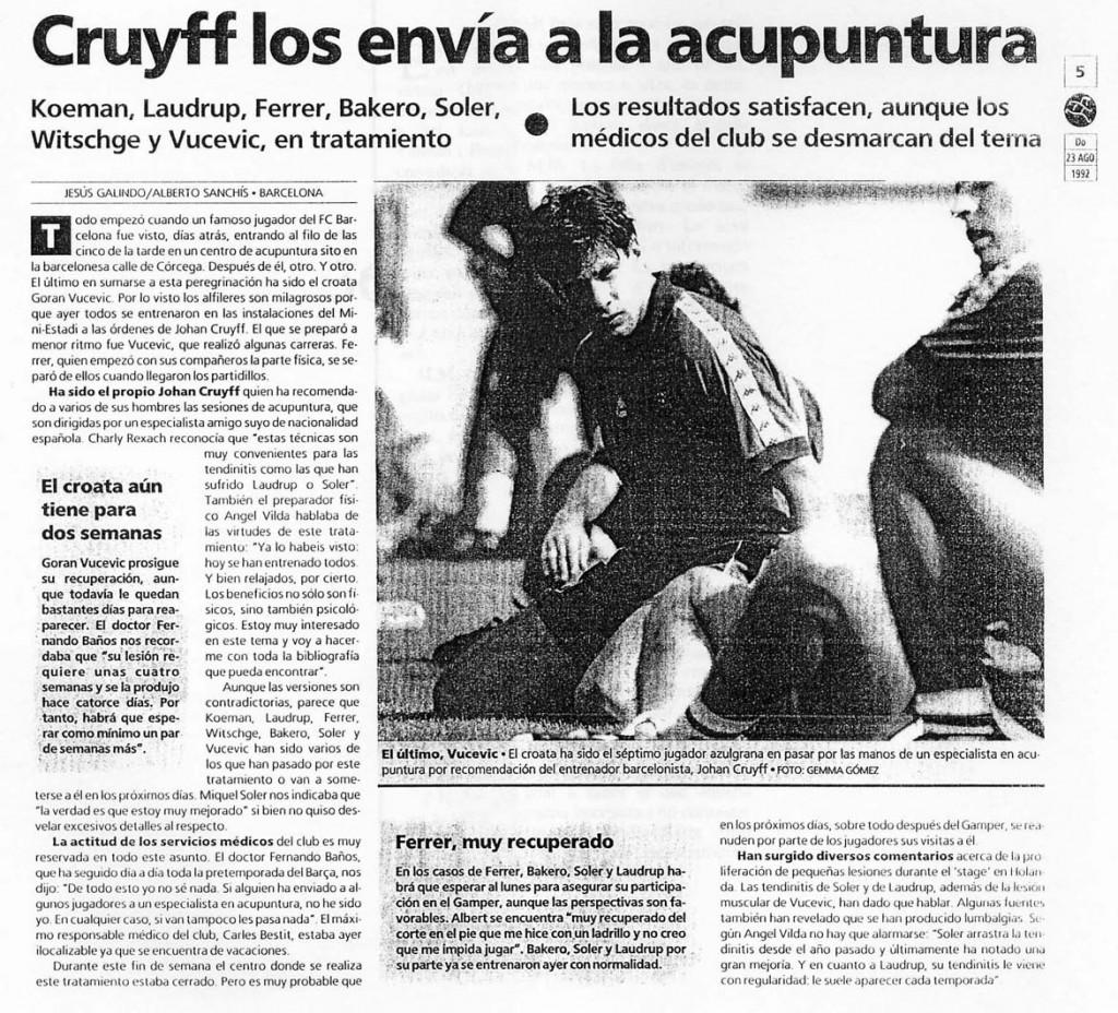 Cruyff los envia a la acupuntura